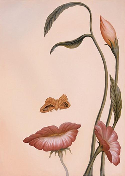 Vilket ser du först- kvinnoansiktet eller blommorna och fjärilen? :grin: