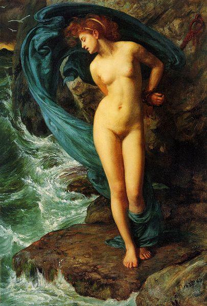 Enligt myten skulle Andromeda offras till ett havsmonster som straff för att hennes mor (?) skrävlat över hennes skönhet.