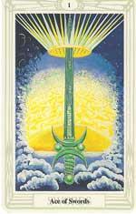 Svärdsesset (Spader ess) enligt Aleister Crowleys design