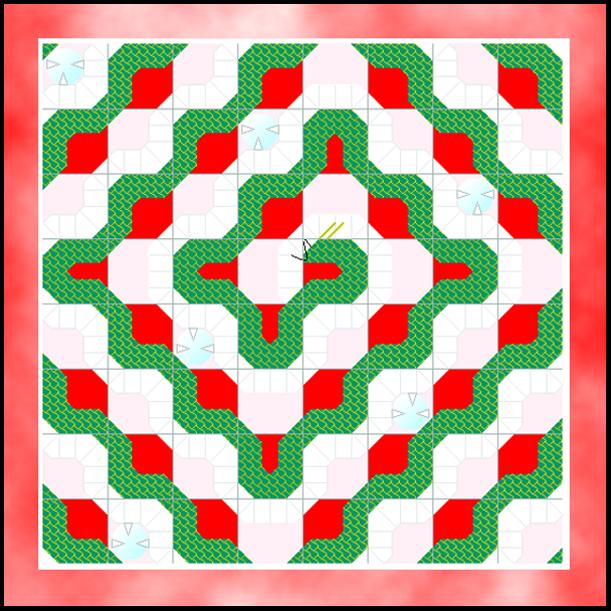 Trots att rutnätet består av räta linjer, tycks de bukta in mot bildens centrum.